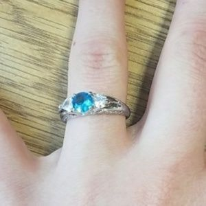 Silver Plated Aquamarine Ring Size 8